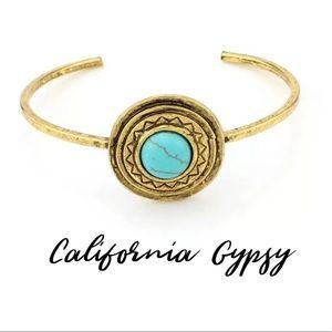 Boho antique Gold turquoise gypsy bracelet